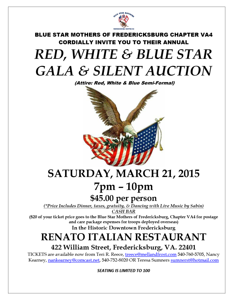 Red, White, and Blue Star Gala & Silent Auction @ RENATO ITALIAN RESTAURANT | Fredericksburg | Virginia | United States